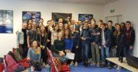Philippe Perrin et les élèves de la E² du Lycée Riquet